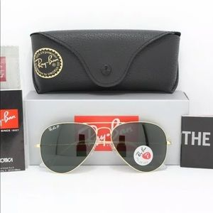 New Rayban Aviator Polarized 3025 Gold/Green 58-14